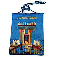 Embroidered Silk Bag - Jerusalem Temple - Blue