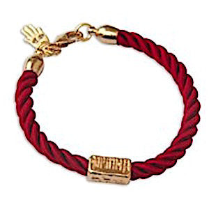 Gold Plated and Red Rope Bracelet - Love and Protection (Pipe)