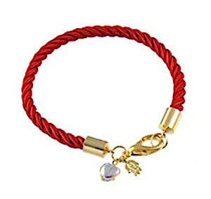 Gold Plated and Red Rope Bracelet with Crystal - Love and Protection