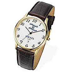 Israeli Flag Classic Watch with Brown Leather Strap