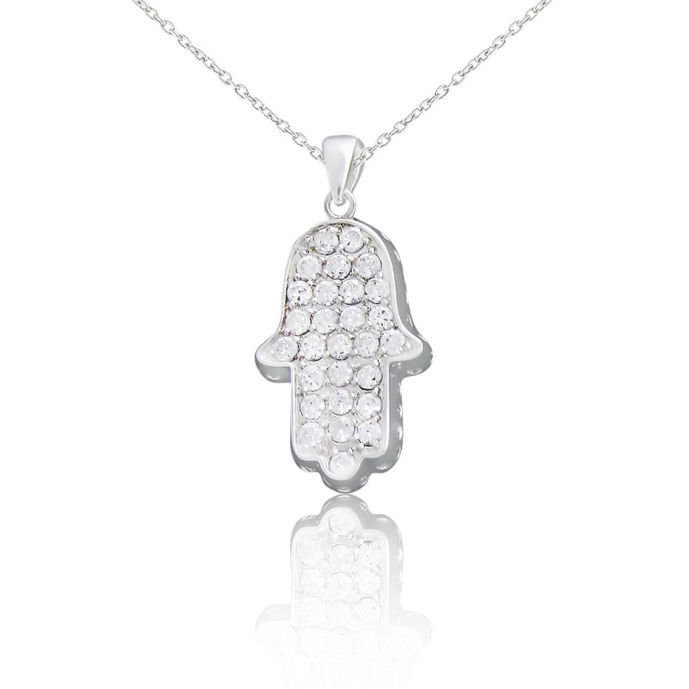 Sterling Silver CZ Judaic Hamsa Hand Pendant Necklace, 18""