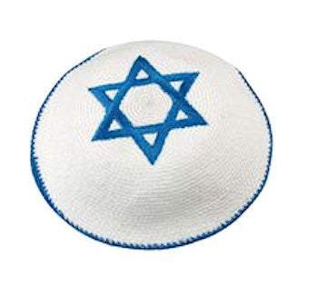 Knitted and Embroidered Star of David Kippah - Blue