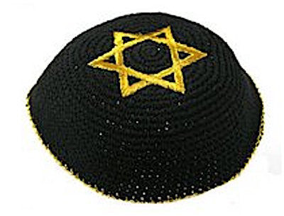 Knitted and Embroidered Stars of David Kippah - Gold on Black