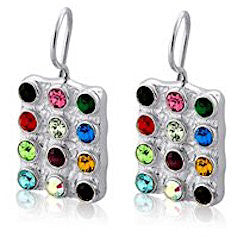 Large Silver Hoshen Gemstone Earrings