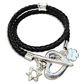 Leather Cord Wrap Bracelet with Silver Charms. Variety of Colors