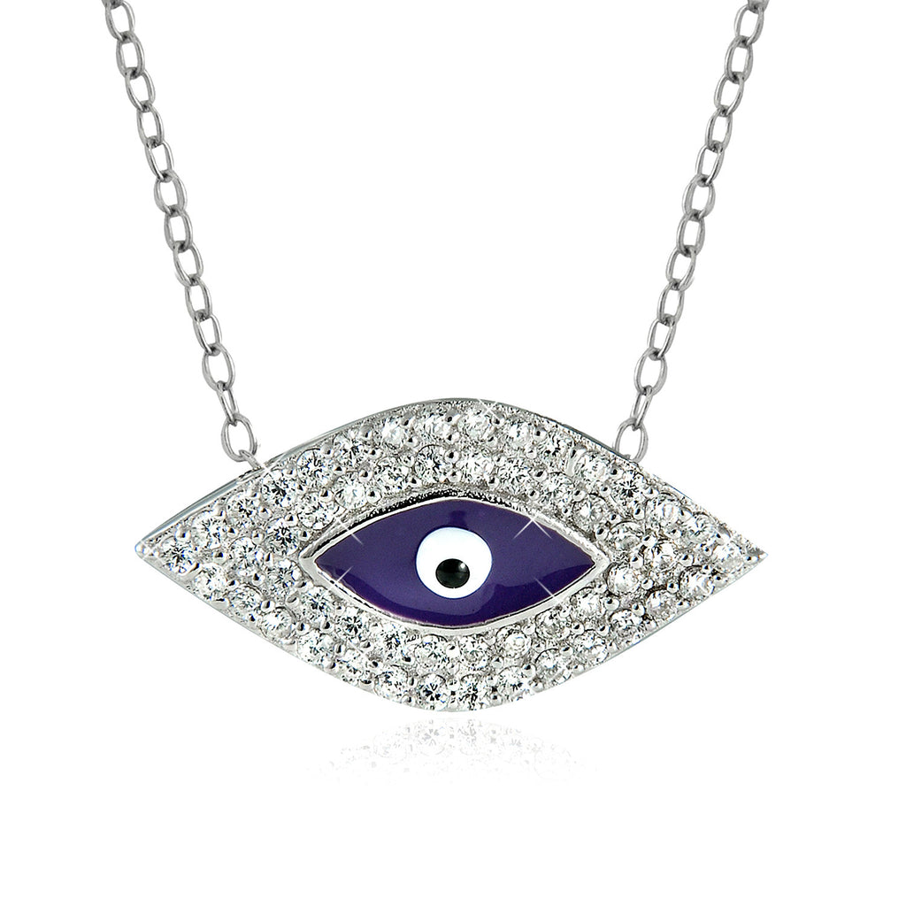 "Sterling Silver Blue Enamel and CZ Evil Eye Necklace (16"" + 2"" extension)"