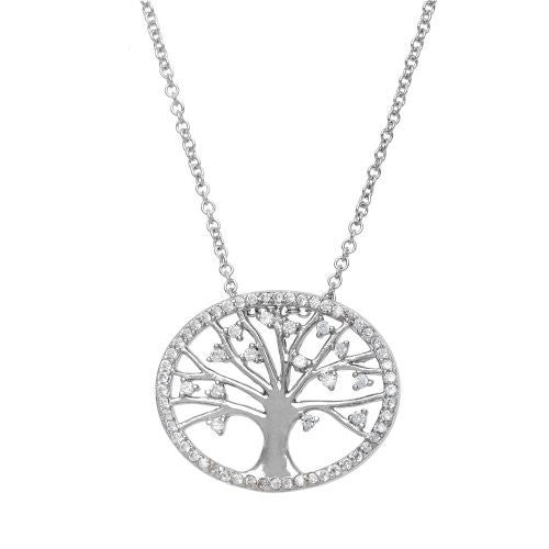 "Sterling Silver Oval CZ ""Tree of Life"" Necklace, 18"""