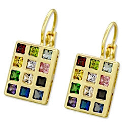 Gold Plated Hoshen Earrings with Gemstones