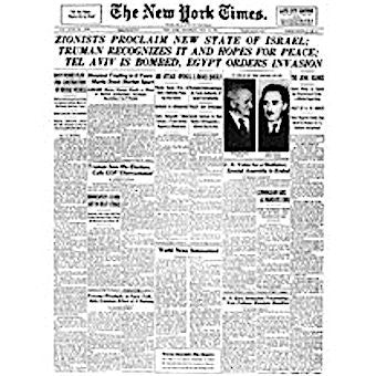 New York Times Reprint - May 15, 1948 - Birth of Israel