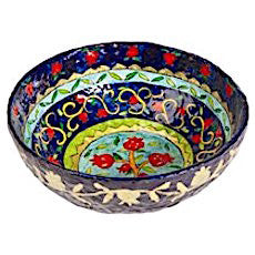 Pomegranates:  Painted Lacquered Paper Mache Large Round Bowl (Blue)
