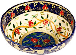 Pomegranates Painted Lacquered Paper Mache Small Round Bowl (White)