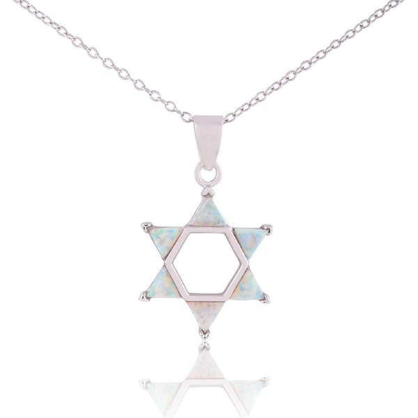 Sterling Silver White Opal Judaic Jewish Star of David Pendant Necklace, 18""