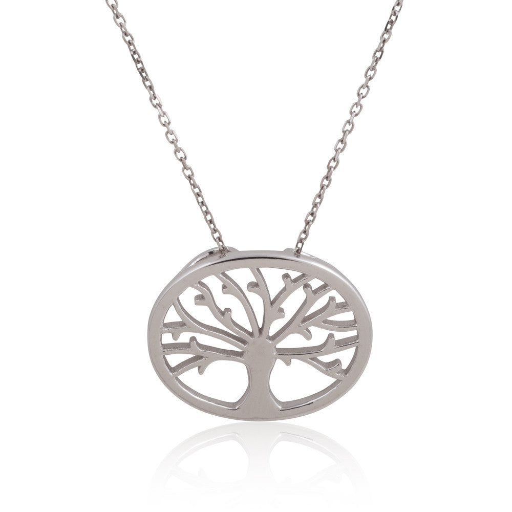 "Sterling Silver Rhodium Plated Oval  ""Tree of Life"" Necklace, 18"""