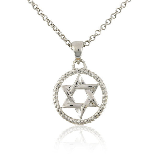 Sterling Silver Round Pendant Necklace with Star of David and Delicate Rope Design, 18""