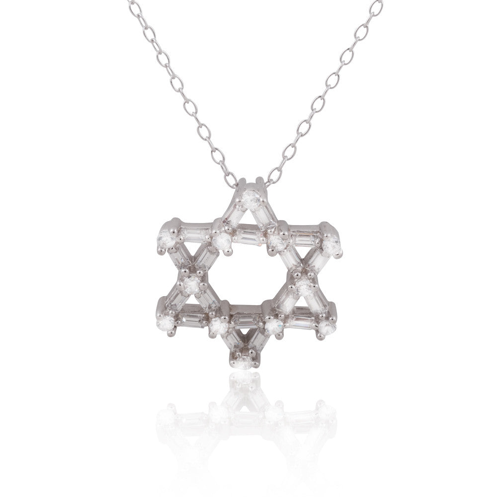 Sterling Silver CZ Star of David Judaic Pendant Necklace, 18""