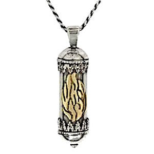 Silver Mezuzah Necklace with Microfilm Book of Psalms - My Flame with a sterling silver chain 17.7 inches