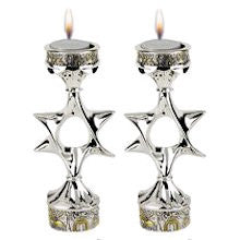 Silver and Gold Plated Candlesticks - Jerusalem and Star of David