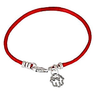 Silver and Red String Kabbalah Bracelet With Hamsa by Or Jewelry