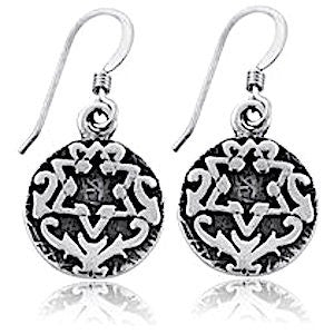 Sterling Silver Circle Star of David Earrings - Priestly Blessing