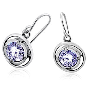 Sterling Silver Earrings - Zircon in Concentric Ring Frame