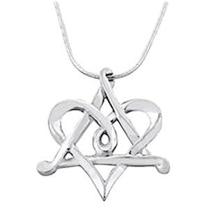 Sterling Silver Heart and Star of David Interlocked Necklace with a sterling silver chain 17.7 inches