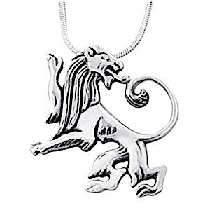 Sterling Silver Reversed Lion of Judah Necklace with a 17.7 inch sterling silver chain
