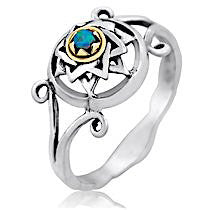 Sterling Silver Star of David Opal Ring