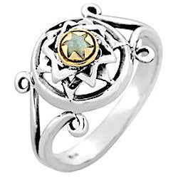 Sterling Silver Star of David Ring with Tiger's Eye Gemstone