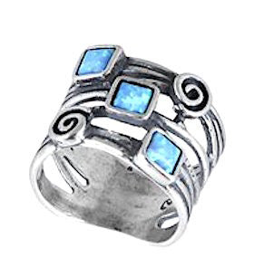 Three Squares and Spiral Opal Sterling Silver Ring