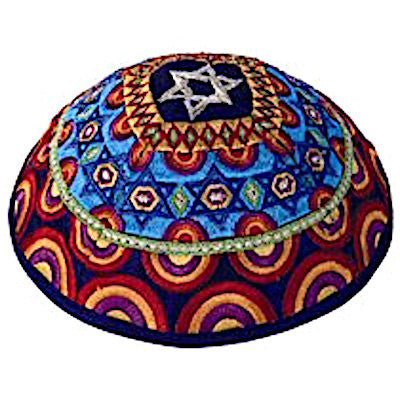 Embroidered Silk Kippah - Stars of David - Multicolored