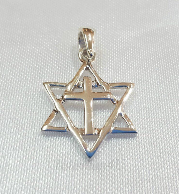 "Star Of David With Cross Authentic Sterling Silver Pendant With 24"" silver chain"