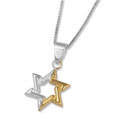 Sterling Silver and Micron Gold Two-Tone Star of David Necklace