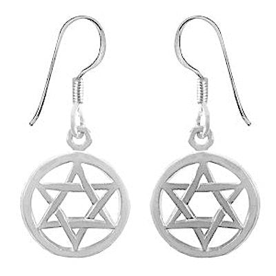 Circled Star of David Sterling Silver Earrings