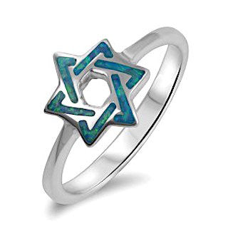 Sterling Silver Ring with Sparkling Blue Star of David