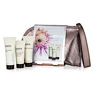 AHAVA Mineral Body Treatment Travel Kit: Purifying Mud Mask, Active Moisture Gel Cream, Mineral Hand Cream