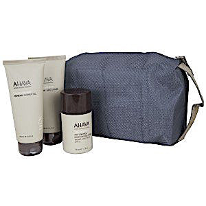 AHAVA Triple Face and Body Treatment Kit For Men: Age Control Moisturizing Cream SPF 15, Mineral Shower Gel, Hand Cream