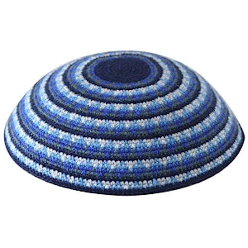 Knitted Stripes Kippah in Shades of Blue