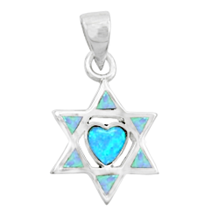 A Beautiful Heart in a Star of David Necklace, Silver & Opal