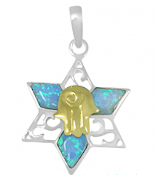 Hamsa and Star of David Necklace Combination, Gold & Silver