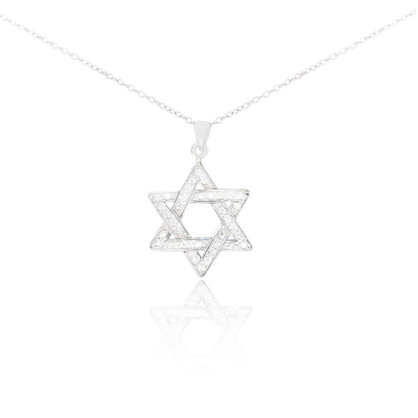 """Magen David"" (Star of David) CZ Pendant Necklace, on a Sterling Silver Chain, 18"""