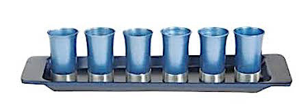 Anodized Aluminum Set of 6 Small Kiddush Cups with Tray (Choice of Colors)
