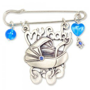 Danon Silver Plated My Baby Safety Pin with Swarovski Crystal (2 Color Options)