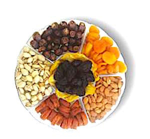 Large Six-Section Dried Fruits and Nuts Tray