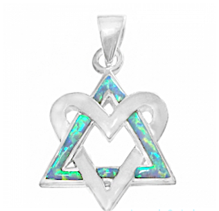 Show Your Love with a Star of David Necklace, Silver & Opal