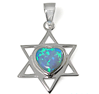 Star of David Necklace with Heart Combination, Silver & Opal!