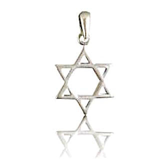 Star of David Necklace Sterling Silver Thin Lines Style