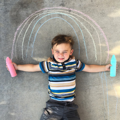 Baby and sidewalk chalk