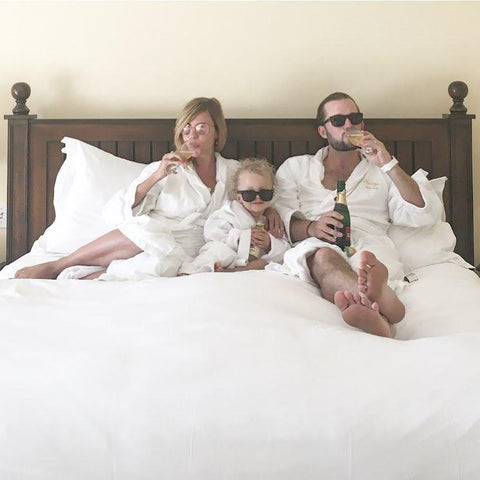 Family and Baby in Hotel Room