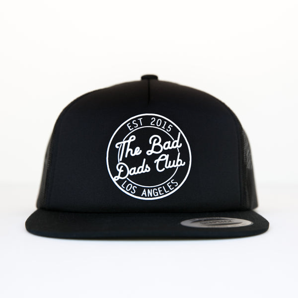 BAD DADS CIRCLE LOGO TRUCKER FLAT BILL SNAPBACK- BLACK