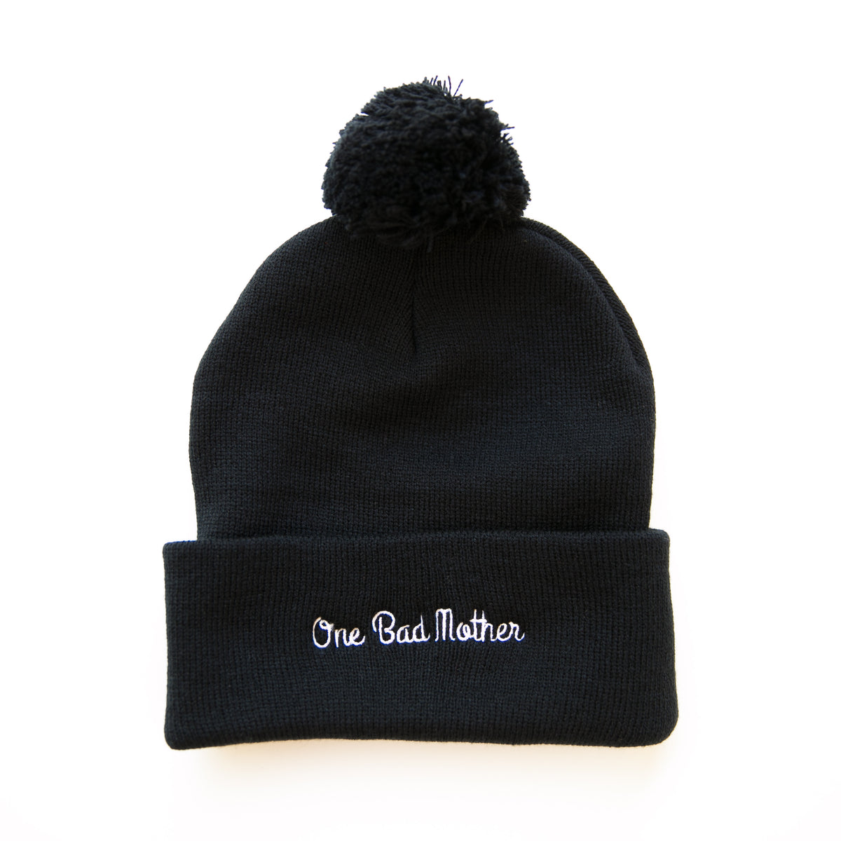 """ONE BAD MOTHER"" POM POM BEANIE"